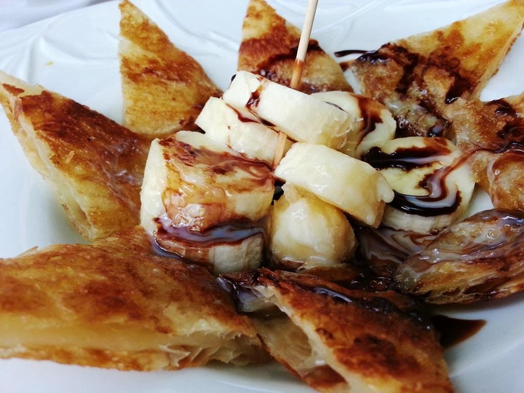 prik thai dessert crepe banane chocolat lait concentré