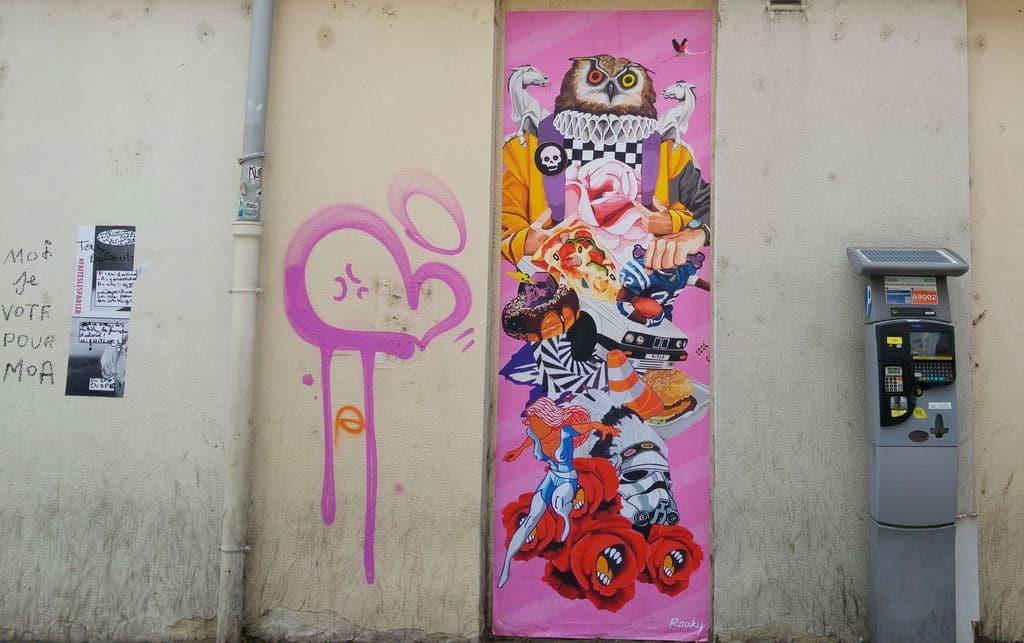 happycurio rauky graphiste collage dessin rue lyon hibou