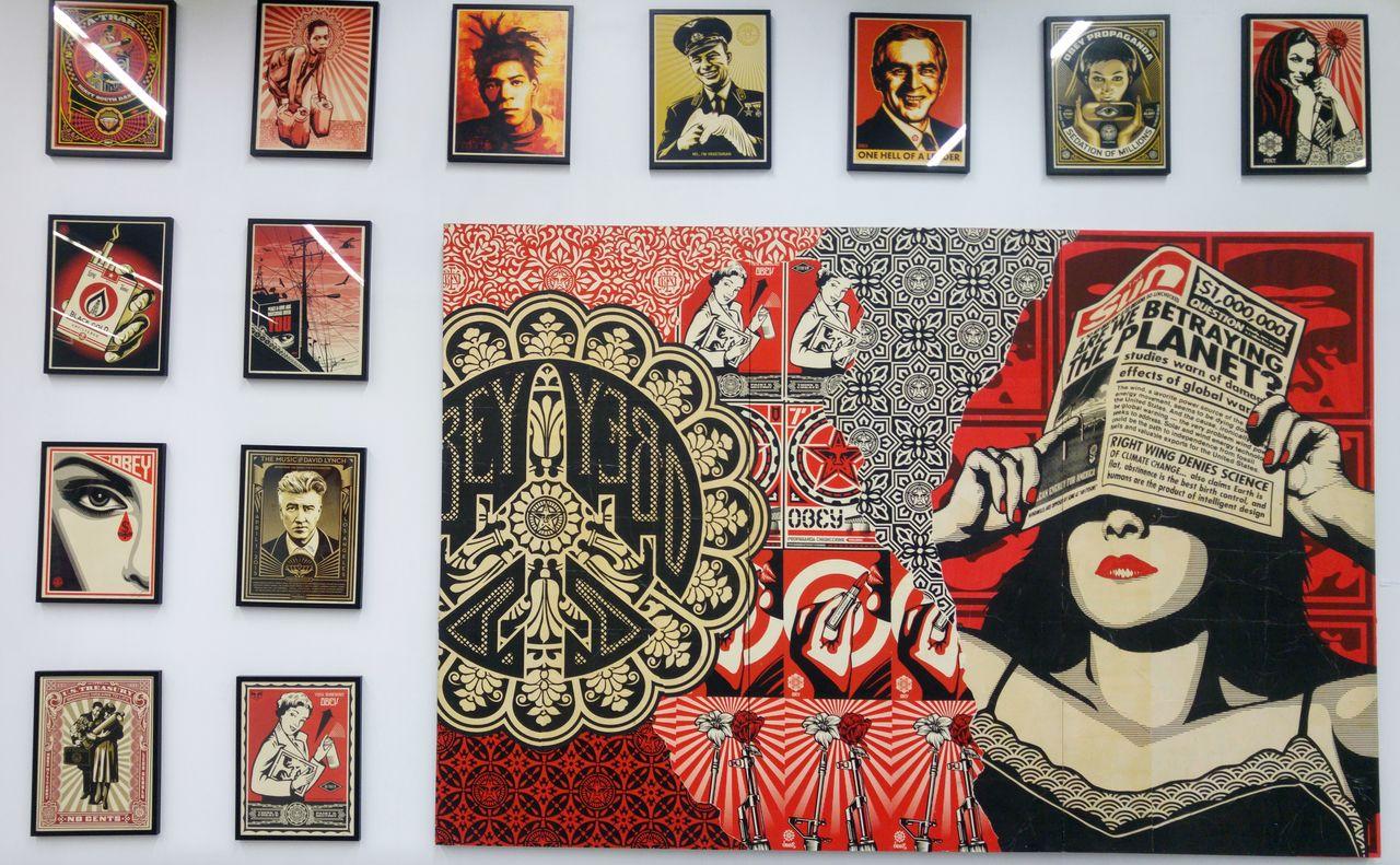 happycurio aerosol paris street art shepard fairey