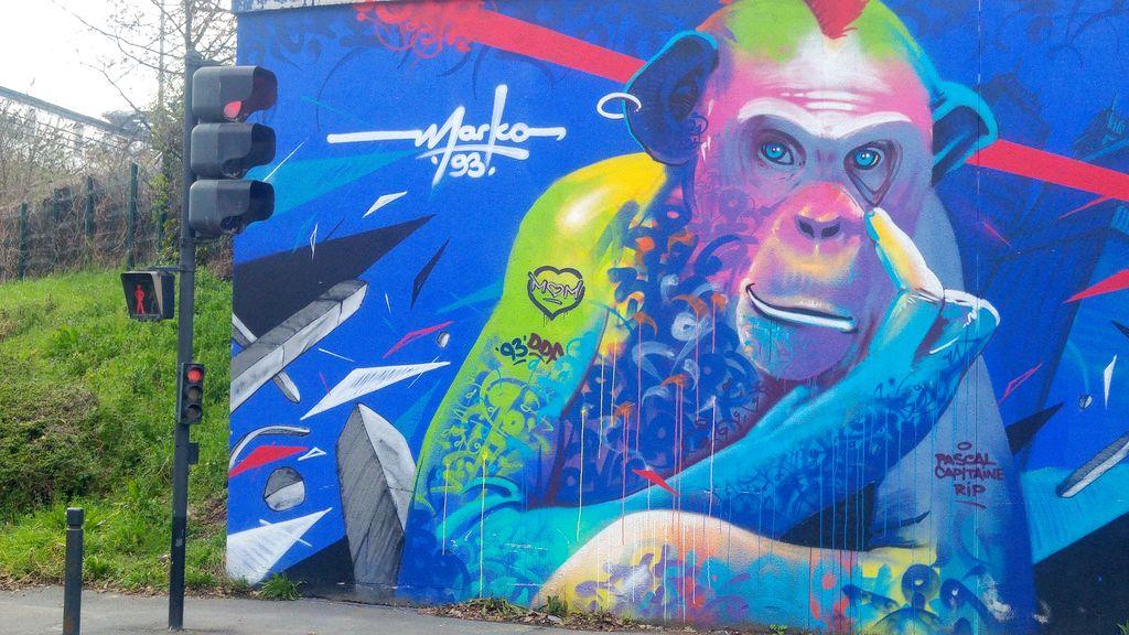happycurio singe marko 93 canal saint denis street art