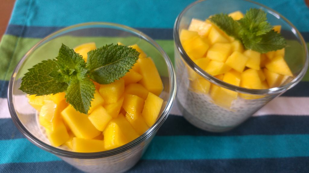happycurio dessert chia lait de coco mangue