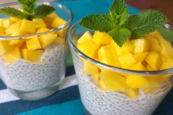 happycurio graines de chia mangue et lait de coco recette facile