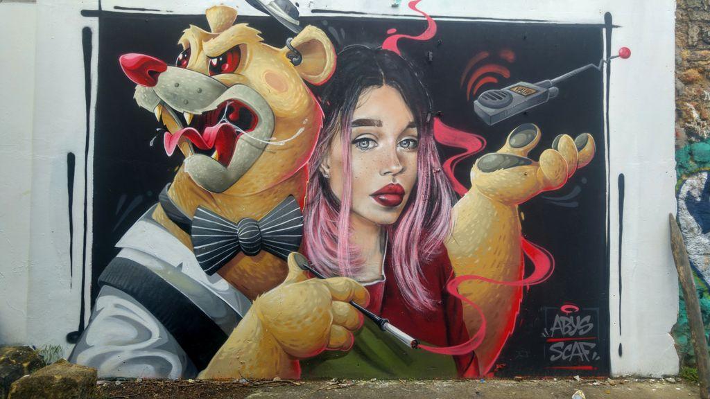 happycurio abys scaf street art ecosysteme darwin rive droite bordeaux