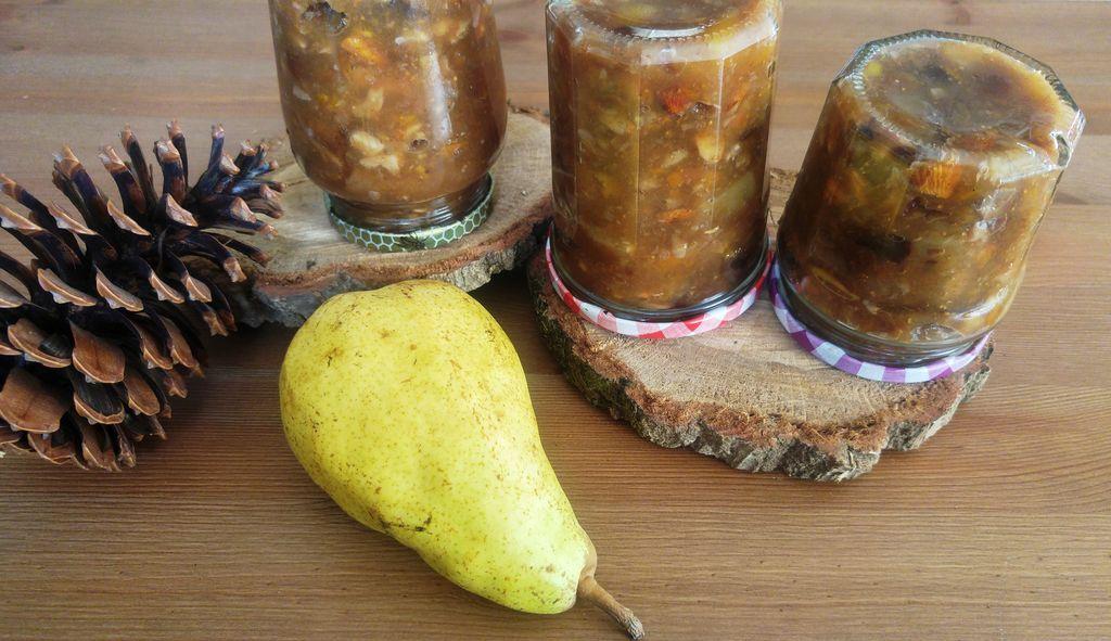 recette confiture hiver poire pomme abricot pruneau figue noix amande raisins