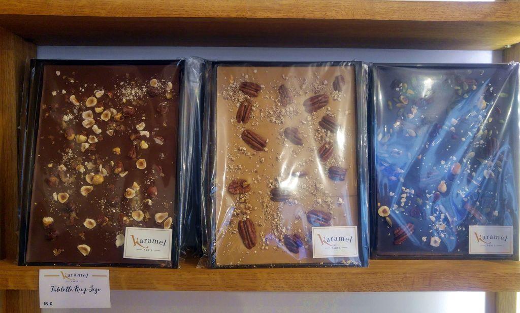 tablettes de chocolat coulant caramel