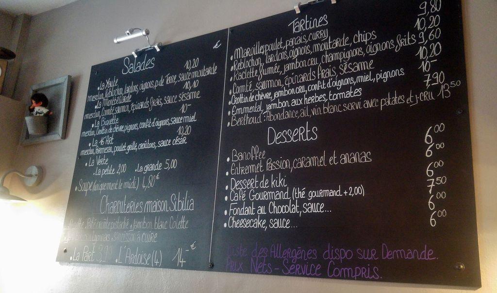 menu l'instant fromage tartine salade dessert