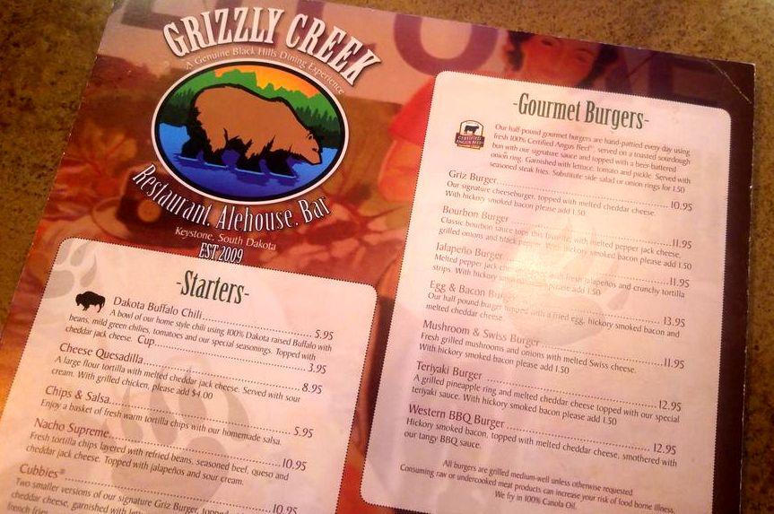 grizzly creek burger menu