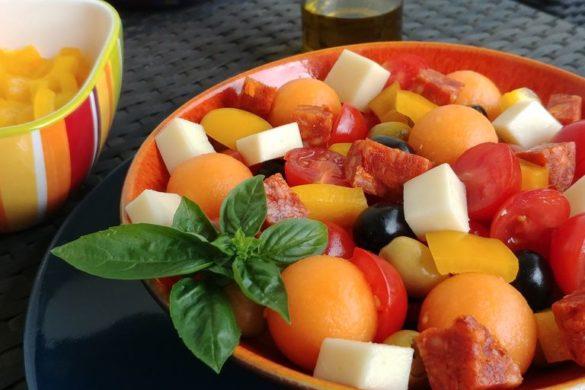 recette d'été melon chorizo poivron