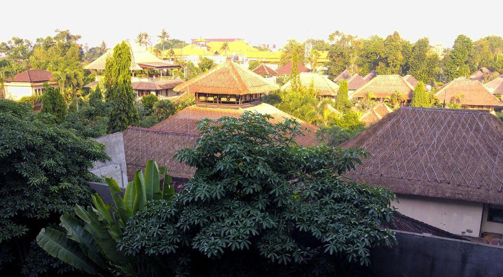 vue sur toits de chaume depuis le tijili