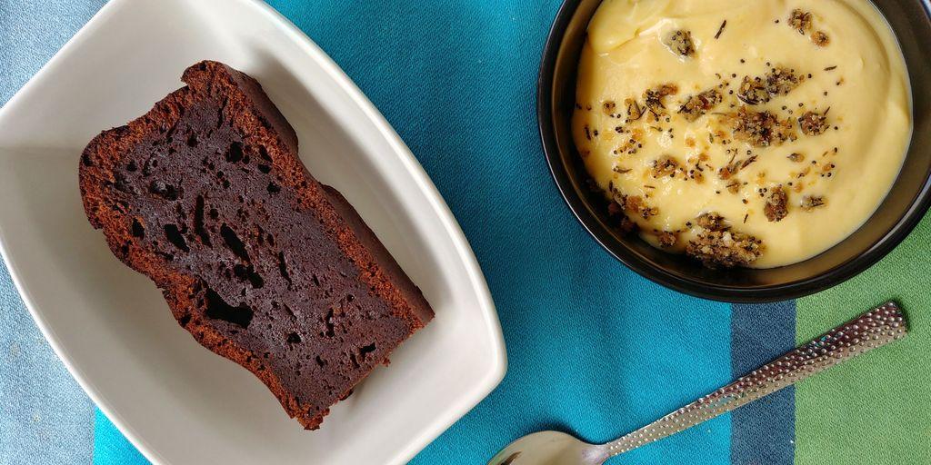 gateau au chocolat et crème maracuja
