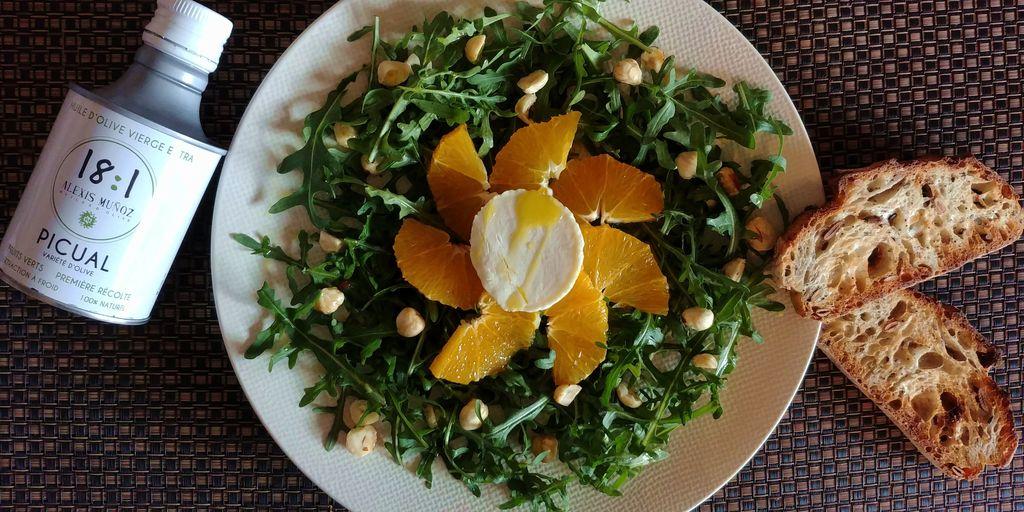 salade de roquette, oranges et chèvre