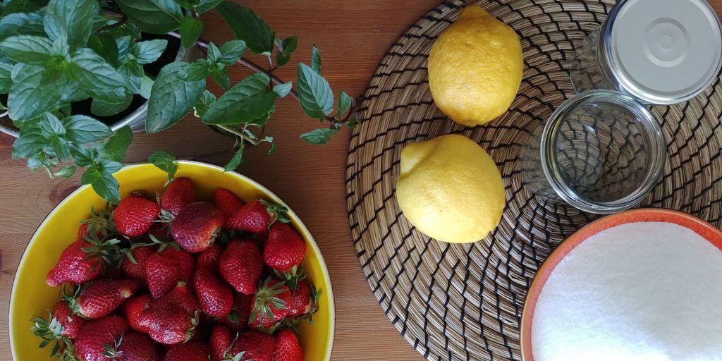 fraises menthe et citron pour faire une confiture