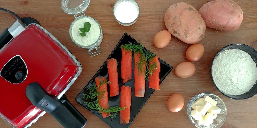 ingrédients pour gaufre de patate douce et sa garniture