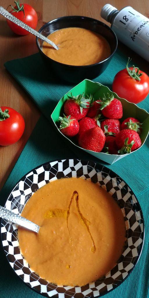 gazpacho de tomates et fraises