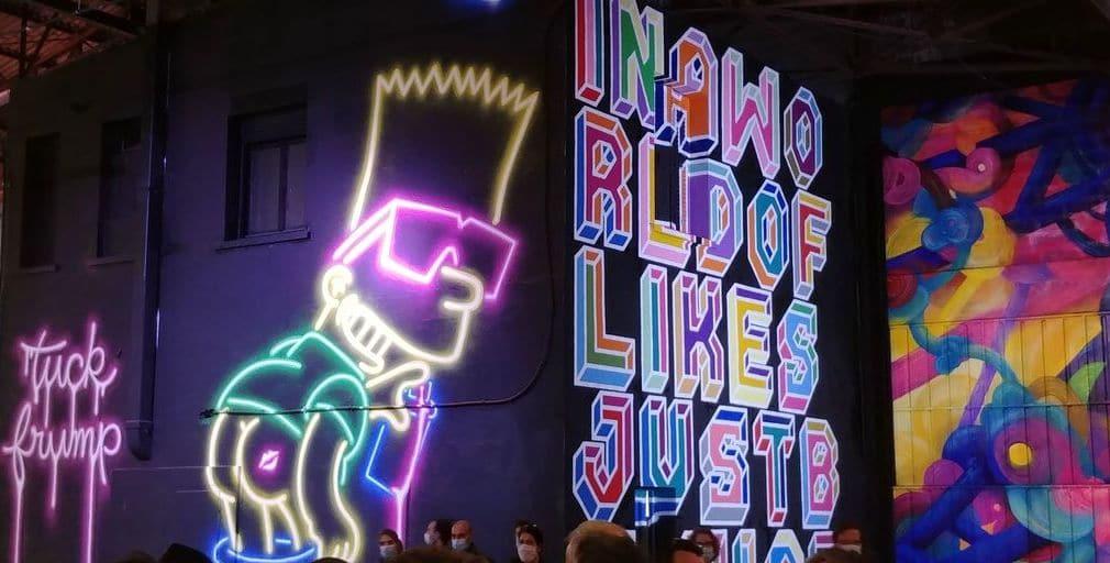 bart simpson et typographie au peinture fraiche festival