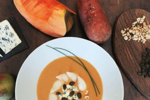soupe veloutée à la patate douce, courge et lait de coco